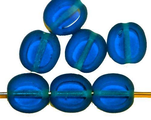 Best.Nr.:46120 Glasperlen / Table Cut Beads  Olive geschliffen montanablau, Rand mattiert, hergestellt in Gablonz / Tschechien