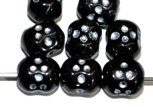 Best.Nr.:46296 Glasperlen häufig für Rosenkränze verwendet,  schwarz mit Silberauflage,  in Gablonz/Tschechien hergestellt