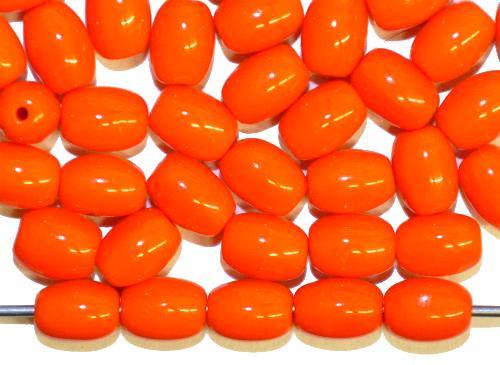 Best.Nr.:46318  Glasperlen Oliven,  orangerot opak,  hergestellt in Gablonz / Tschechien