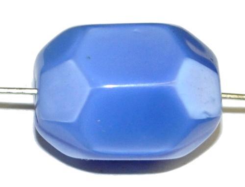 Best.Nr.:46377 Glasperlen Oliven kantig,  Perlettglas mittelblau,  hergestellt in Gablonz / Tschechien