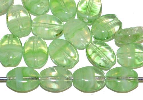 Best.Nr.:46385 Glasperlen Olive flach  grün meliert,  hergestellt in Gablonz / Tschechien