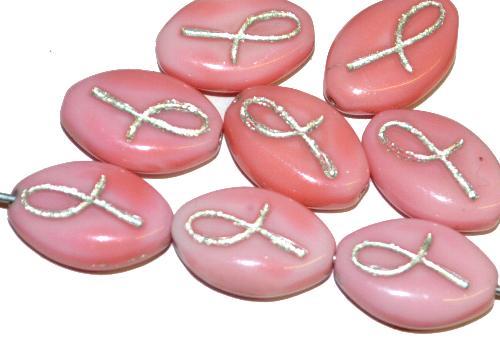 Best.Nr.:46388 Glasperlen Olive flach  rosa opak mit Silberauflage, hergestellt in Gablonz / Tschechien