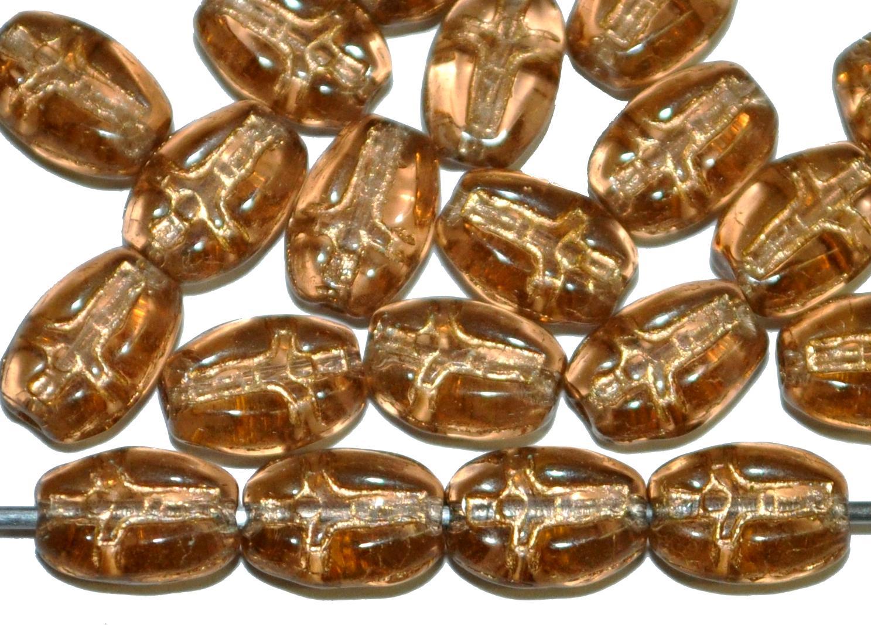 Best.Nr.:46392 Vintagestyle Glasperlen braun transp. mit Goldauflage,  eingeprägte stilisierte Darsellung