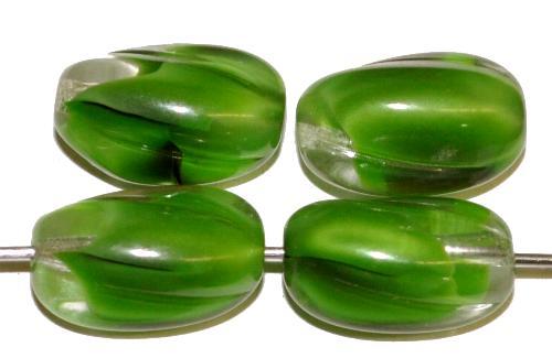 Best.Nr.:46392 Glasperlen Oliven grün kristall, hergestellt in Gablonz / Tschechien