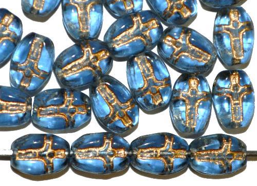 Best.Nr.:46393 Vintagestyle Glasperlen blau transp. mit Goldauflage,  eingeprägte stilisierte Darsellung
