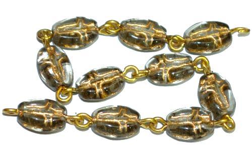 Best.Nr.:46404 Vintagestyle Glasperlen rauch transp. mit Goldauflage,  eingeprägte stilisierte Darsellung