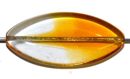 Best.Nr.:46404 Glasperle große flache Olive,  kristall topas transp.,  hergestellt in Gablonz / Tschechien
