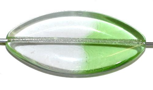 Best.Nr.:46409 Glasperle große flache Olive,  kristall hellgrün transp.,  hergestellt in Gablonz / Tschechien
