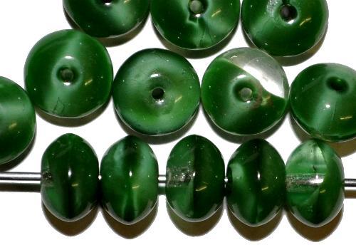 Best.Nr.:47022 Glasperlen Linse  Perlettglas kristall/grün,  hergestellt in Gablonz / Tschechien