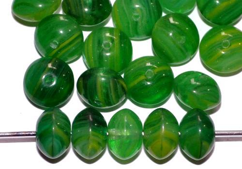 Best.Nr.:47038 Glasperlen Linse  grün marmoriert, hergestellt in Gablonz / Tschechien