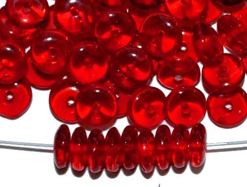 Best.Nr.:47083 Glasperlen Linse  rot transparent,  hergestellt in Gablonz / Tschechien