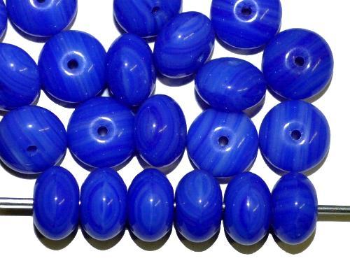 Best.Nr.:47101  Glasperlen Linse  blau opak,  hergestellt in Gablonz / Tschechie