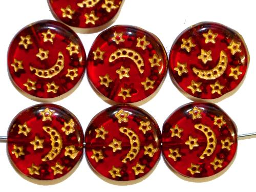 Best.Nr.:47174 Glasperlen Scheibe  Linse rot mit gold Prägung,  hergestellt in Gablonz / Tschechien