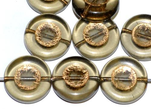 Best.Nr.:47151 Glasperlen Scheibe  rauch transp. mit Goldauflage, hergestellt in Gablonz / Tschechien