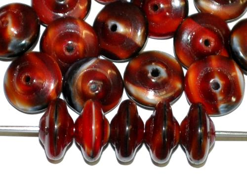 Best.Nr.:47166 Glasperlen Linse rot opak marmoriert, hergestellt in Gablonz / Tschechien