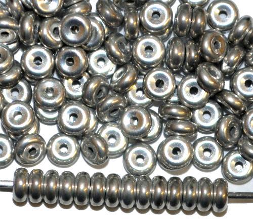 Best.Nr.:47180 Glasperlen Scheiben  silber metallic,  hergestellt in Gablonz / Tschechien
