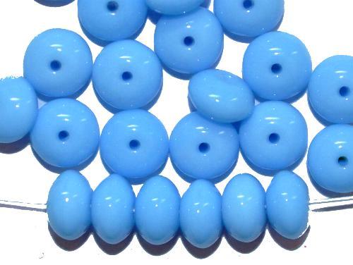 Best.Nr.:47180 Glasperlen Linse  hellblau opak,  hergestellt in Gablonz / Tschechien