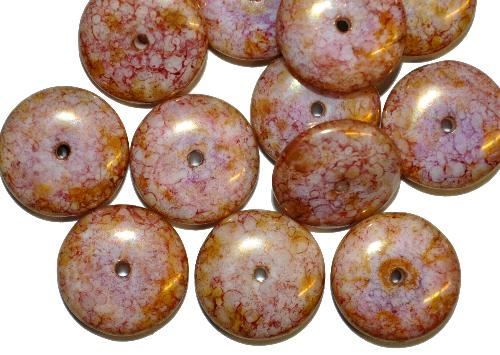 Best.Nr.:47184  Glasperlen Linsen  mit stone finish bronziert,  hergestellt in Gablonz / Tschechien