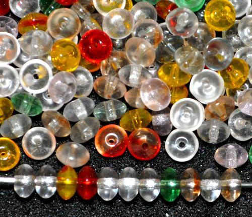 Best.Nr.:47188  Glasperlen Linse,  Farbmix,  hergestellt um 1960 in Gablonz / Tschechien