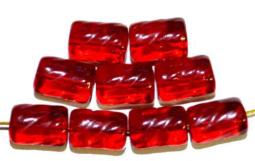 Best.Nr.:48020  Glasperlen Walze  rot transp.,  hergestellt in Gablonz / Tschechien