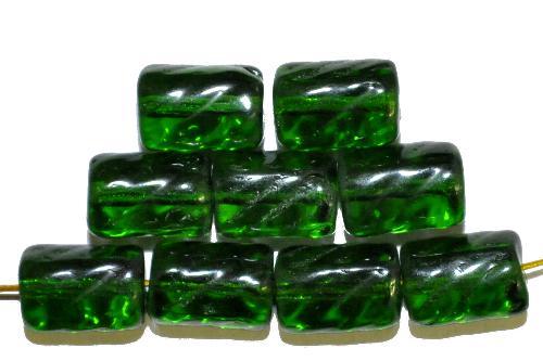 Best.Nr.:48071 Glasperlen Walze  grün transp.,  hergestellt in Gablonz / Tschechien