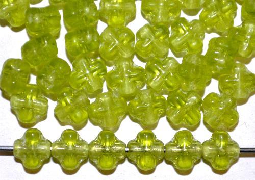Best.Nr.:48048 Glasperlen Kreuzform  olivgrün transp.,  hergestellt in Gablonz / Tschechien