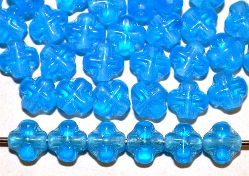 Best.Nr.:48064 Glasperlen Kreuzform  blau transp.,  hergestellt in Gablonz / Tschechien