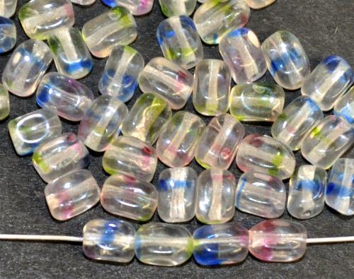 Best.Nr.:48068  Glasperlen Rechtecke, kristall mit bunten streifen,  hergestellt in Gablonz / Tschechien