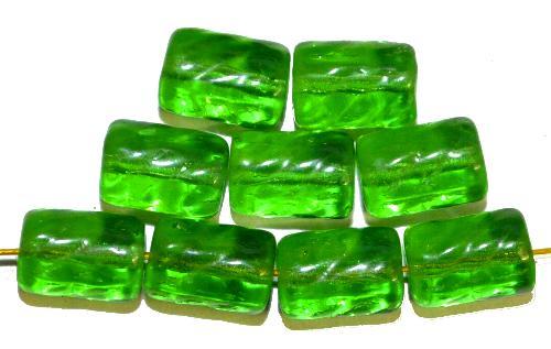 Best.Nr.:48069  Glasperlen Walze  hellgrün transp.,  hergestellt in Gablonz / Tschechien
