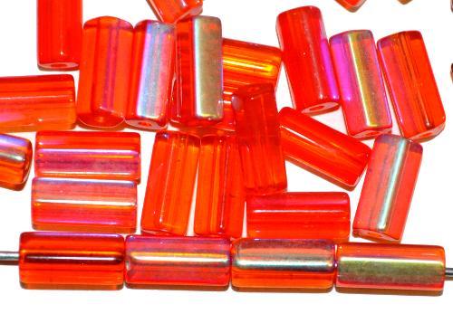 Best.Nr.:48069 Glasperlen Stäbchen fünfkantig  orange transparent mit AB, hergestellt in Gablonz / Tschechien