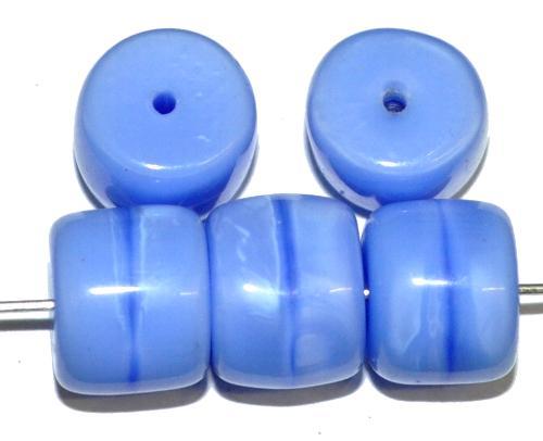 Best.Nr.:48075 Glasperlen Walze,  Perlettglas mittelblau,  hergestellt in Gablonz / Tschechien
