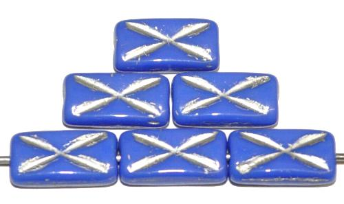 Best.Nr.:49029 Glasperlen Rechtecke, blau opak mit Silberauflage und eingeprägtem Kreuz, hergestellt in Gablonz / Tschechien