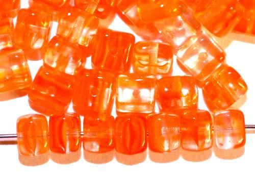 Best.Nr.:49031 Glasperlen Würfel  orange meliert, hergestellt in Gablonz / Tschechien