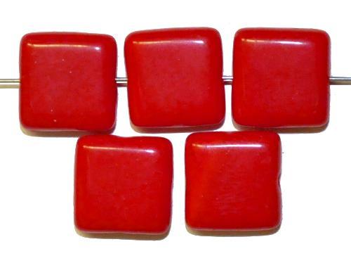 Best.Nr.:49067 Glasperlen Quadrate  rot opak, hergestellt in Gablonz Tschechien