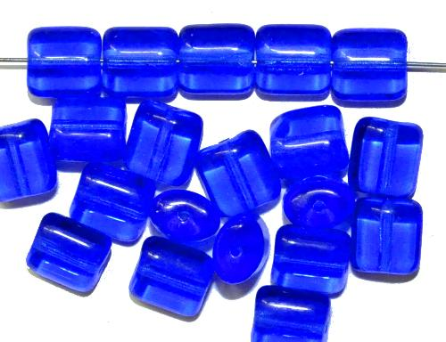 Best.Nr.:49068 Glasperlen Pillowbeads blau transp., hergestellt in Gablonz / Tschechien