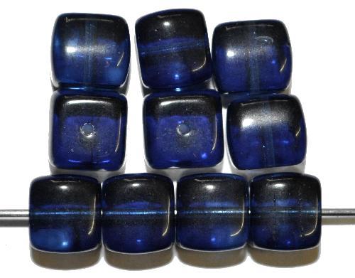 Best.Nr.:49103 Glasperlen Würfel  blau transp., hergestellt in Gablonz / Tschechien