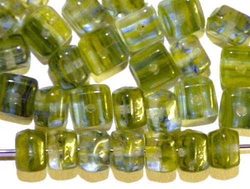 Best.Nr.:49140 Glasperlen Würfel  oliv meliert, hergestellt in Gablonz / Tschechien