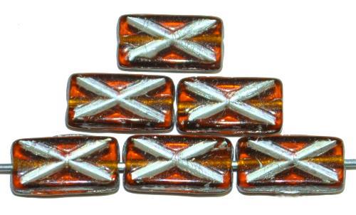 Best.Nr.:49142 Glasperlen Rechtecke topas transp. mit Silberauflage und eingeprägtem Kreuz, hergestellt in Gablonz / Tschechien