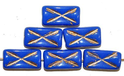 Best.Nr.:49145 Glasperlen Rechtecke,  blau opak mit Goldauflage und eingeprägtem Kreuz,  hergestellt in Gablonz / Tschechien