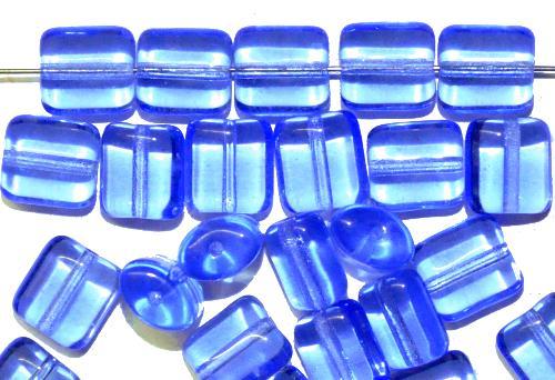 Best.Nr.:49170 Glasperlen Pillowbeads  aqua transp. hergestellt in Gablonz / Tschechien
