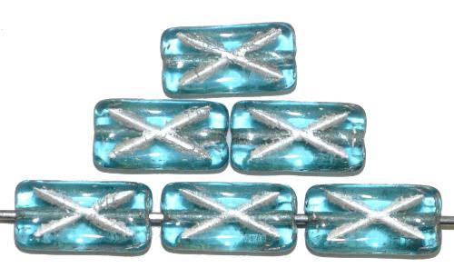 Best.Nr.:49192 Glasperlen Rechtecke  türkis transp. mit Silberauflage und eingeprägtem Kreuz, hergestellt in Gablonz / Tschechien