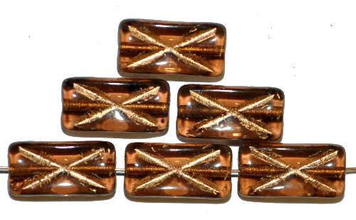 Best.Nr.:49201 Glasperlen Rechtecke,  braun transp. mit Goldauflage und eingeprägtem Kreuz,  hergestellt in Gablonz / Tschechien