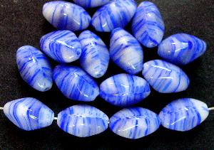 Best.Nr.:49202 Glasperlen dreieckiger Querschnitt weiß blau, hergestellt in Gablonz / Tschechien