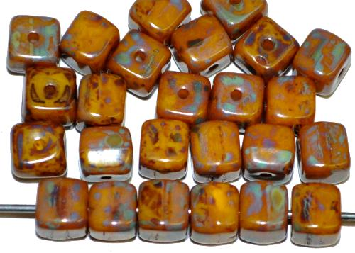 Best.Nr.:49205  Glasperlen Würfel  gelb mit picasso finish,  hergestellt in Gablonz / Tschechien