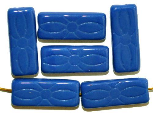 Best.Nr.:49207  vintage style Glasperlen blau opak mit eingeprägtem Blütenornament,  nach alten Vorlagen aus den 1930 Jahren neu gefertigt