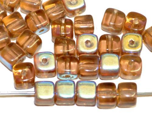 Best.Nr.:49236 Glasperlen Würfel,  brau transp., eine Seite mit AB, hergestellt in Gablonz / Tschechien