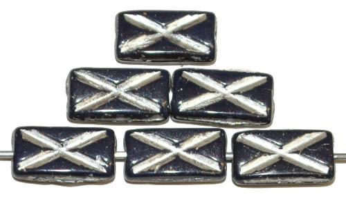 Best.Nr.:49238 Glasperlen Rechtecke nachtblau opak mit Silberauflage und eingeprägtem Kreuz, hergestellt in Gablonz / Tschechien