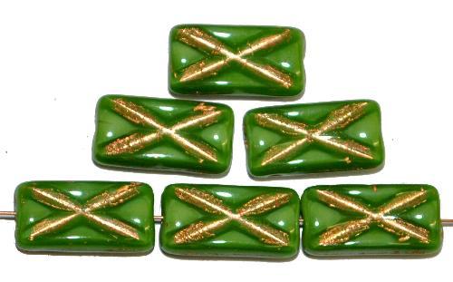 Best.Nr.:49257 Glasperlen Rechtecke,  grün opak mit Goldauflage und eingeprägtem Kreuz,  hergestellt in Gablonz / Tschechien