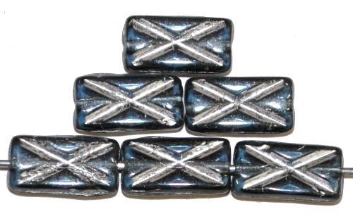 Best.Nr.:49262 Glasperlen Rechtecke taubenblau transp. mit Silberauflage und eingeprägtem Kreuz, hergestellt in Gablonz / Tschechien