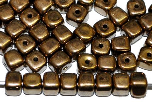 Best.Nr.:49265 Glasperlen Würfel metallic finish messing,  hergestellt in Gablonz / Tschechien